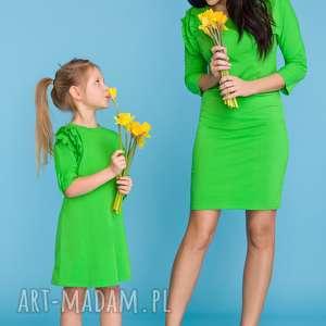 komplet dla mamy i córki - sukienka trzy falbanki, zielony, sukienka, komplet, mama