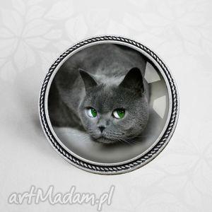 kocur psotnik Śliczna broszka z kotkiem - kot, kotek, kotem, szara, szary