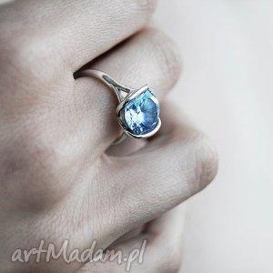 ręcznie zrobione pierścionki pierścionek z białego złota próby 585 z naturalnym niebieskim topazem