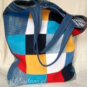 duża torba z jeansu szachownica , torba, lato, wakacyjna, recykling, modna, jeans na