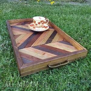 dom taca drewniana /1/, taca, drewniana, ręcznie, robiona, drewno