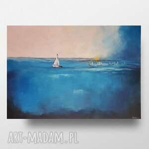 przed burzą-obraz akrylowy formatu 70/50 cm, pejzaż, łodzie, obraz, morze