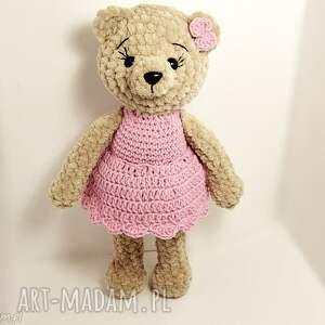Pluszowa panna misia w różowej sukience - 23 cm - Ręcznie zrobione