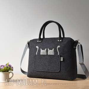Duża grafitowa antracytowa torebka kufer z filcu dwoma kotami, kot, filc, filcowa
