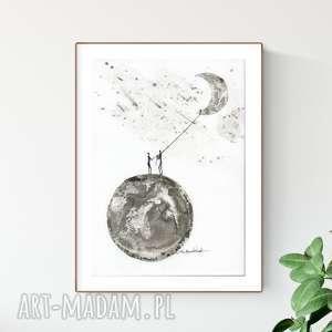 dom grafika a4 malowana ręcznie, minimalizm, abstrakcja czarno-biała