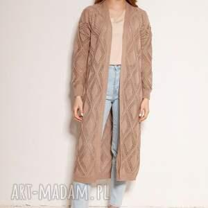 swetry ażurowy płaszcz - swe145 mocca, płaszcz, sweter, sweter