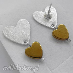 SERDUSZKO kolczyki, srebro, kamień, serce