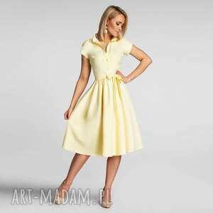 sukienka sabina midi pastelowy żółty, patelowa, z paskiem
