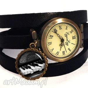 fortepian - zegarek bransoletka na skórzanym pasku egginegg, prezent
