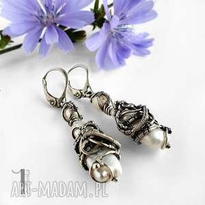 tempus srebrne kolczyki z perłami, kolczyki, srebrne, wirewrapping, perły, biwa