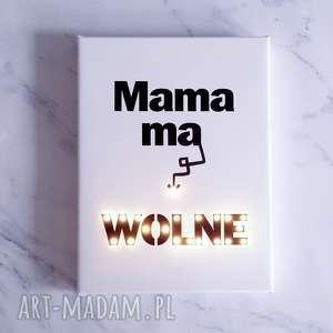 ŚWIECĄCY OBRAZ LED dla Mamy cytat motto styl skandynawski dzien Mamy, mama, obraz