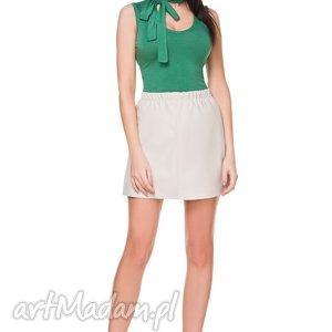 Spódnica mini z eko-skóry, T175, jasnobeżowy, spódnica, mini, ekoskóra, gumka