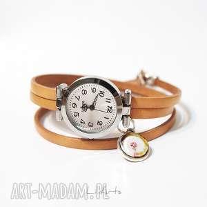 ręcznie wykonane zegarki zegarek, bransoletka - dmuchawiec owijany, skórzany