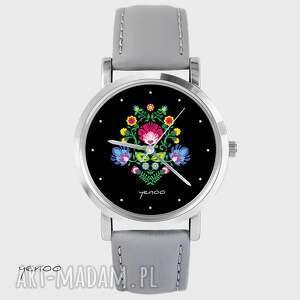 Prezent Zegarek, bransoletka - Folkowy czarny szary, skórzany, zegarek, folkowy