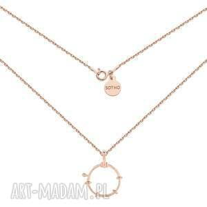 naszyjnik z ozdobnym kółkiem z różowego złota medalion, pozłacany