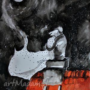 obrazy akwarela przy pełni artystki plastyka adriany laube, pełnia, księżyc