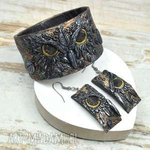komplet biżuterii sowy, biżuteria sowa, bransoletka kolczyki sowy