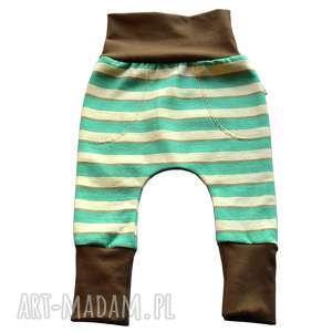 handmade paski legginsy, spodnie, baggy, dla dziewczynki, chłopca, niemowląt, bawełniana