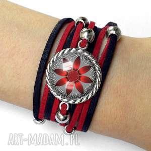 bransoletka czerwony kwiat - romantyczna, elegancka, graficzny, kwiaty