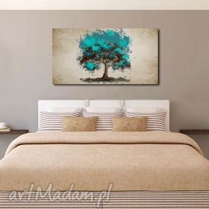 obrazy obraz xxl drzewo turkusowe - d5 -120x70cm na płótnie, obraz, duży