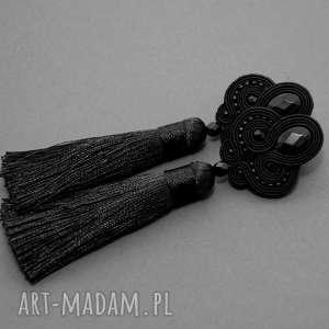 czarne kolczyki sutasz z onyksami, sznurek, długie, wieczorowe, chwost, wiszące