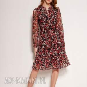 sukienki wzorzysta sukienka z siateczki - suk194 czerwony, na lato