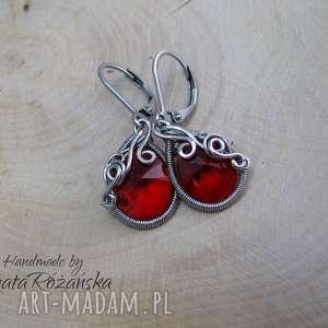 Kolczyki Swarovski Mini Pear Light Siam, wire wrapping, kolczyki, swarovski