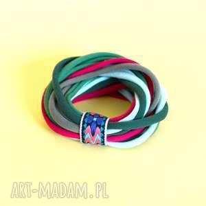 handmade bransoletki bransoletka dzianinowa zielono- malinowa