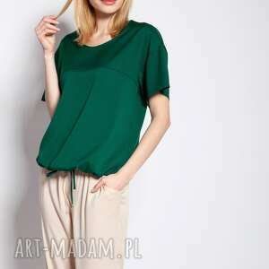 bluzka z krótkim rękawem, blu144 zielony, luźna, troczek, do pracy, szkoły