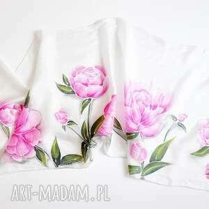 jedwabny malowany szal - piwonie, kwiatowy szal, w piwonie, w kwiaty, jedwabny