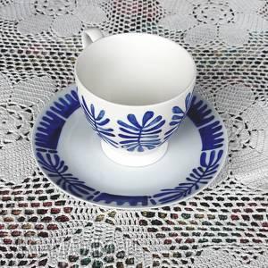 ręcznie wykonane kubki filiżanka i talerzyk deserowy, malowany deseń