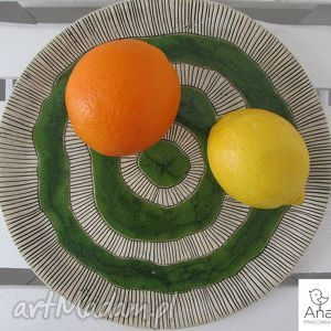 etniczna zielona patera, ceramiczna, aztecka, talerz, ceramiczny