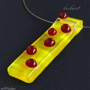 ladybird, naszyjnik, wisior, szklany, fusing, kropki, prezent