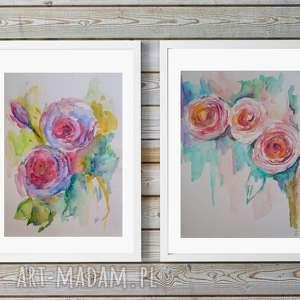 dwie akwarele- róże, kwiaty, akwarela