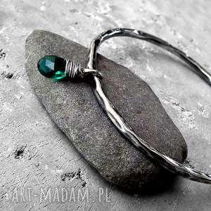ręcznie robione bransoleta - srebro i kwarc rama green