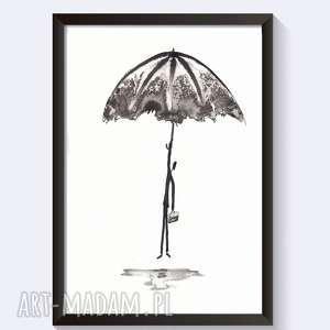 obraz abstrakcja czarno-biała,rysunek tuszem cykl rain, plakat motywacja