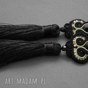 kolczyki sutasz z onyksami i chwostami, sznurek, eleganckie, wiszące