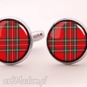 szkocka kratka - spinki do mankietów - prezent, szkocja, facet