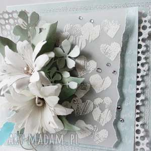 Miętowa kartka w pudełku, życzenia, podziękowania, ślub, gratulacje, urodziny