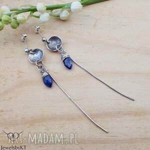 miseczki srebrne z lapis - kolczyki, długie surowa