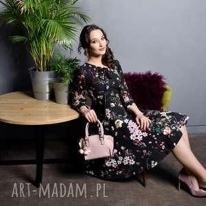 Sukienka EBONY Midi Aurelia, kropki, kwiaty, wiżanie, midi, kokarda,