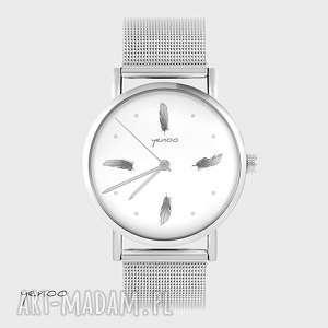 zegarek, bransoletka - szare piórka metalowy, bransoletka, metalowy