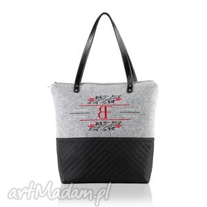 na ramię torebka pikowana z filcem royal 432, pojemna, modna, filcowa,
