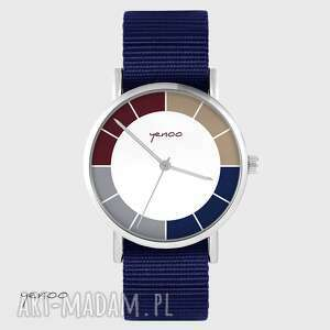 hand-made zegarki zegarek yenoo - tricolor granatowy, nato