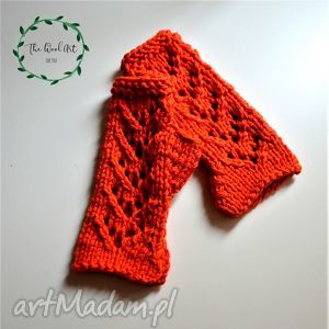 rękawiczki mitenki, rękawiczki, dodatki, pomarańczowe