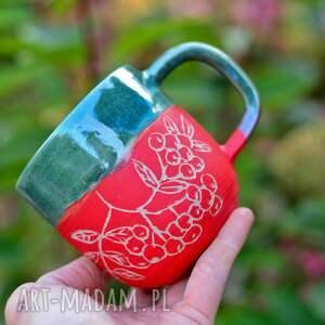 kubek handmade duży kamionkowy - jarzębina green-390 ml, ceramika na prezent