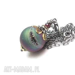 Peacock vol. 4 - naszyjnik, srebro, oksydowane, agat, druza, tytan, granat