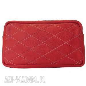 handmade nerki skórzana torebka-transformer czerwona