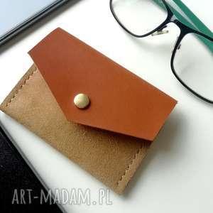 rachel skórzana zamszowa portmonetka - beżowa portfelik na karty etui