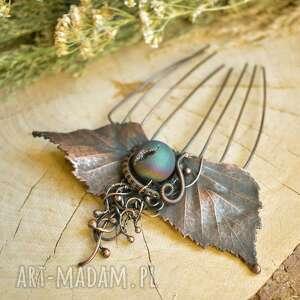 ręcznie wykonane ozdoby do włosów leśny elf - grzebień z liśćmi
